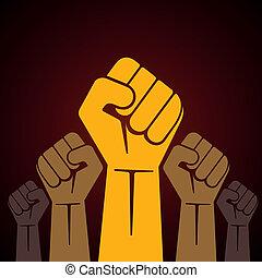segurado, protesto, punho apertado