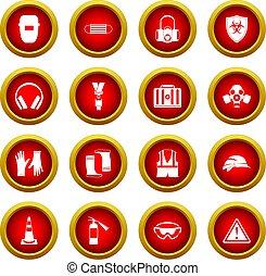 segurança, ícone, vermelho, círculo, jogo