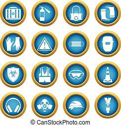 segurança, ícones, azul, círculo, jogo