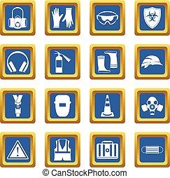 segurança, ícones, jogo, azul
