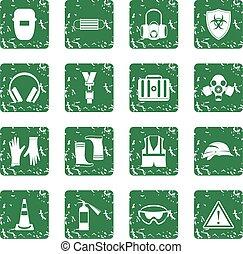segurança, ícones, jogo, grunge