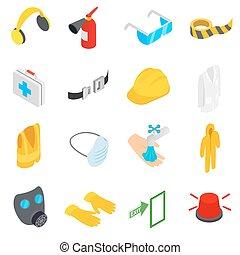segurança, ícones, jogo, isometric, 3d, estilo