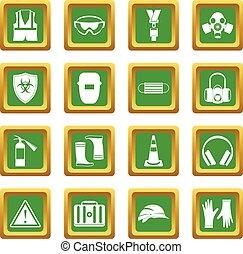 segurança, ícones, jogo, verde