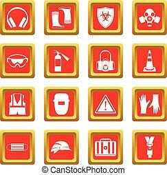 segurança, ícones, jogo, vermelho