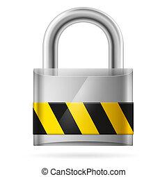 segurança, almofada, trancadas, fechadura, conceito