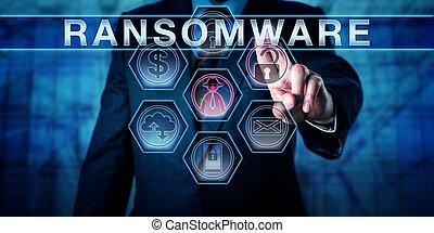 segurança, ameaça, sistemas, gerente, empurrões, ransomware