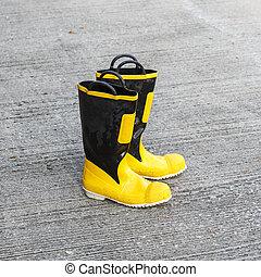 segurança, bombeiro, sapatos