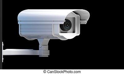 segurança, câmera vigilância, isolado, ligado, experiência...