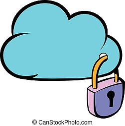 segurança, caricatura, nuvem, ícone