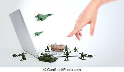 segurança computador, conceito, :, soldados, é, guardar, um, laptop, de, vírus, spyware, e, hacker, com, mão