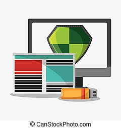 segurança, computador, desenho, cyber