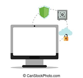 segurança, computador, desenho, sistema, cyber
