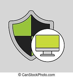 segurança, computador, escudo, proteção, internet