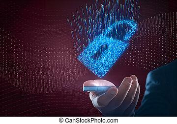 segurança, conceito, cyber