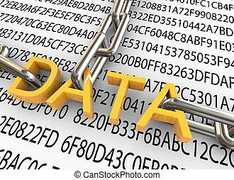segurança, conceito, dados, 3d