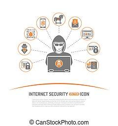 segurança, conceito, internet