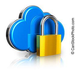 segurança, conceito, nuvem, computando