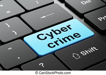 segurança, concept:, cyber, crime, ligado, teclado computador, fundo