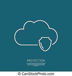 segurança, concept., nuvem