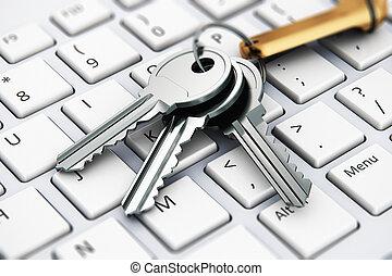 segurança, concept:, teclas, ligado, teclado portátil