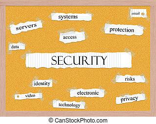 segurança, corkboard, palavra, conceito