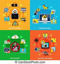 segurança dados, 2x2, desenho, conceito