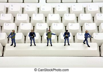 segurança dados, conceito, computador