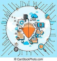 segurança dados, linha, conceito