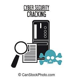 segurança, desenho, sistema, cyber