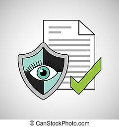 segurança, documento, olho, escudo