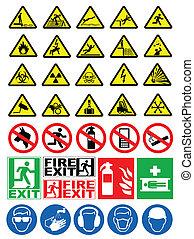 segurança, e, aviso assina