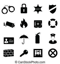 segurança, e, segurança, ícone, jogo
