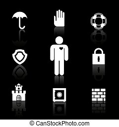 segurança, e, seguro, símbolos