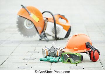 segurança, equipamento protetor, e, disco, cortador