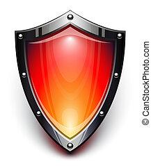 segurança, escudo, vermelho