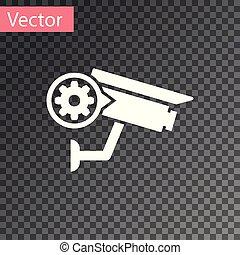 segurança, fixing., engrenagem, serviço, conceito, câmera, ajustar, isolado, ilustração, transparente, experiência., vetorial, manutenção, branca, app, opções, armando, reparar, ícone