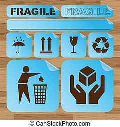 segurança, frágil, adesivo, ícone, jogo