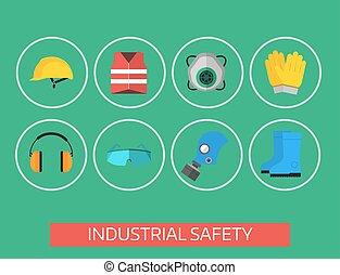 segurança, industrial, engrenagem, ferramentas, apartamento, vetorial, ilustração, corporal, proteção, trabalhador, equipamento, fábrica, engenheiro, clothing.