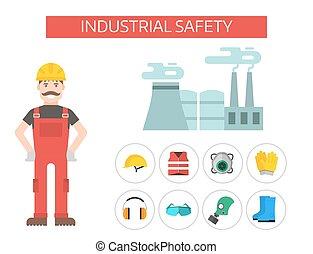 segurança, industrial, homem, engrenagem, ferramentas, apartamento, vetorial, ilustração, corporal, proteção, trabalhador, equipamento, fábrica, engenheiro, clothing.