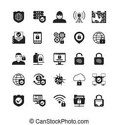 segurança, jogo, pretas, ícones internet