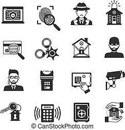 segurança, jogo, pretas, ícones