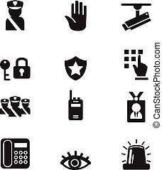segurança, jogo, silueta, ícones