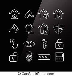 segurança lar, conceito, ícone