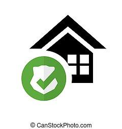 segurança lar, proteção, escudo, pictograma