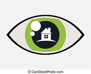 segurança lar, proteção, olho, vigilância
