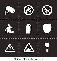 segurança lar, vetorial, jogo, ícones