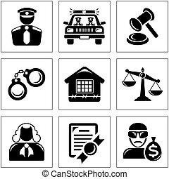 segurança, lei, ícones