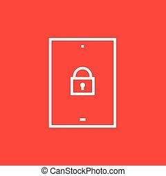 segurança, linha, icon., tabuleta, digital