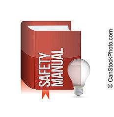segurança, livro, manual, ilustração