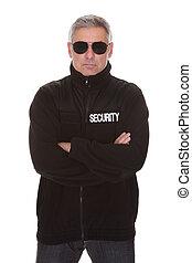 segurança, maduras, homem